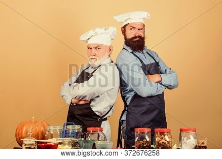 Culinary Show. Chef Men Wear Aprons. Father And Son Culinary Hobby. Cafe Workers. Culinary Industry.