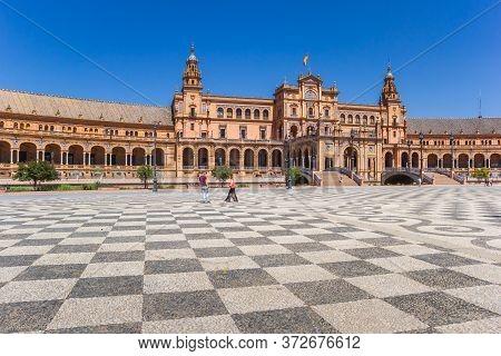 Checkerboard Pattern On The Plaza Espana In Sevilla, Spain