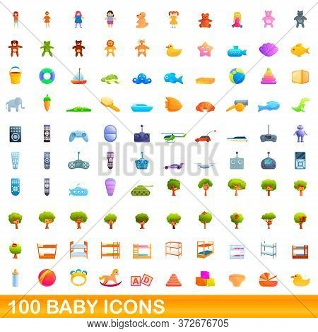100 Baby Icons Set. Cartoon Illustration Of 100 Baby Icons Vector Set Isolated On White Background