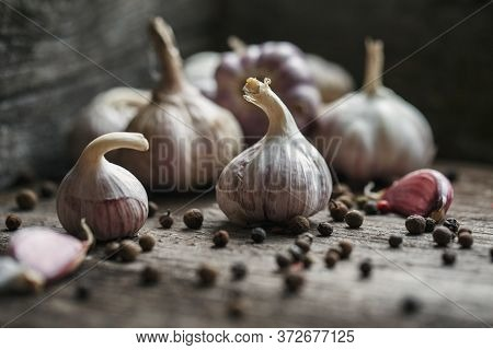 Garlic. Garlic Clove And Garlic Bulb On Vintage Background. Garlic Bulbs With On Dark Wooden Backgro