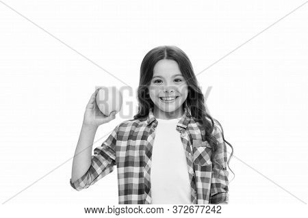 Organic Food. Apple Vitamin Snack. Girl Cute Hold Apple Fruit White Background. Child Girl Casual Cl