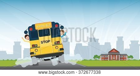Happy Smiling Kids Riding On A View Of The Entire Rear Of The School Bus, Vector Illustration.
