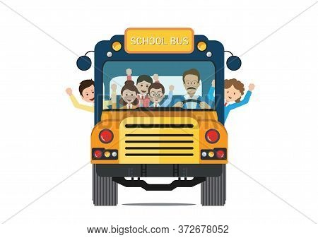 Happy Smiling Kids Riding On A Yellow School Bus With A Driver Isolated On White Background. Vector