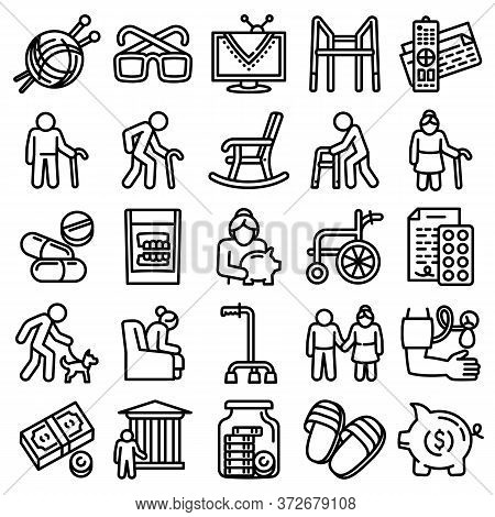 Pension Icons Set. Outline Set Of Pension Vector Icons For Web Design Isolated On White Background