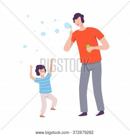 Father And Son Blowing Soap Bubbles, Parent And Kid Spending Time Together Flat Style Vector Illustr