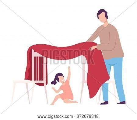 Father And His Daughter Playing Blanket House, Girl Sitting In Hut, Parent And Kid Spending Time Tog
