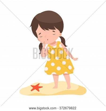 Adorable Brunette Girl Standing On The Beach Looking At Starfish, Kids Summer Activities, Adorable C
