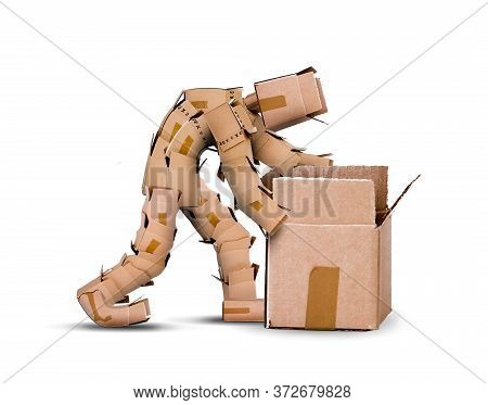 Think Outside The Box Concept With Box Character Looking Inside An Open Cardboard Container. Copyspa