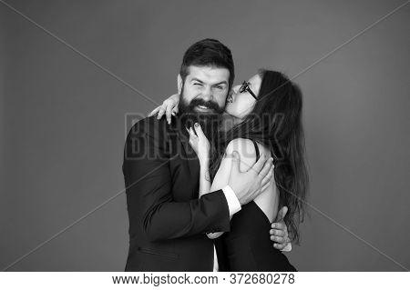 Love At First Bite. Couple In Love Enjoy Flirtation. Flirtation Between Sexy Girl And Bearded Man. F