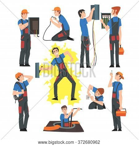 Male Electrical Engineers Repairing And Operating Electrical Equipment, Electricity Maintenance Serv