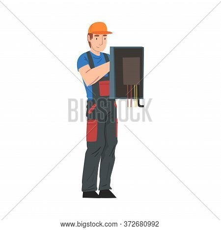 Male Electrician Engineer Repairing Control Panel, Electricity Maintenance Service Worker Character
