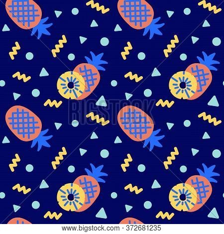 Pineapple Icons Pattern. Pineapple Whole And Slice Seamless Background. Summer Seamless Pattern Vect