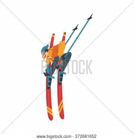 Freestyle Skier Jumping, Extreme Hobby Or Sport Cartoon Style Vector Illustration