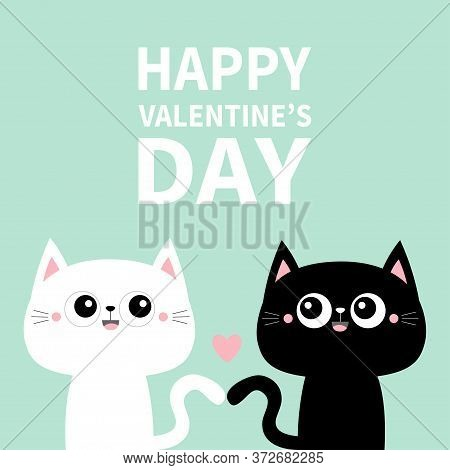 Happy Valentines Day. Cute Black Cat Kitty Kitten Set. Pink Heart. Kawaii Cartoon Character. Smiling