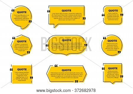 Quote Text Box, Quote Frame With Space For Text. Set Of Quotation Bubbles. Abstract Texting Box Temp