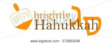 Hanukkah And Chanukah Jewish Holiday Poster With Wooden Dreidel In Modern Design. Vector Illustratio