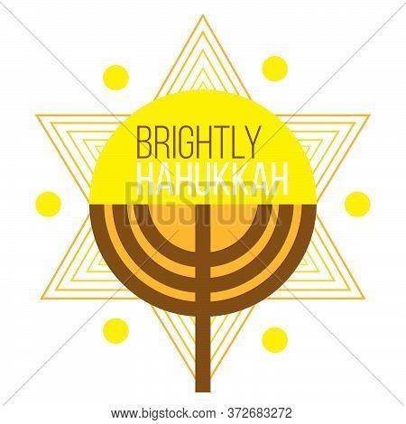 Hanukkah And Chanukah Jewish Holiday Poster With Star Of David, Menorah Candle In Modern Design. Vec
