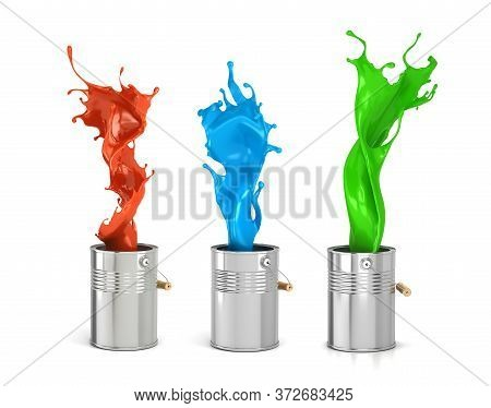 Set Of Color Splashes Of Paint In Can 3d Illustration