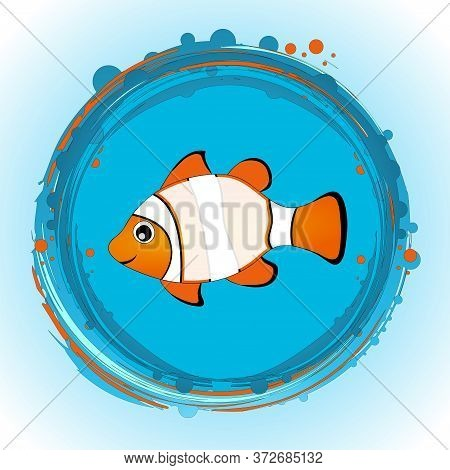 Hand Drawn Cute Tropical Fish With Blank Copy Space On His Body Over Circular Blue And Orange Border