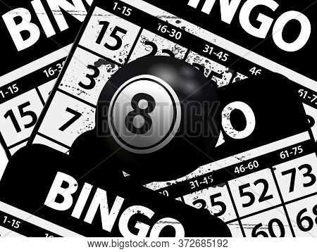 3d Illustration Of A Number 8 Black Bingo Ball With Light Reflections Over Black And White Bingo Car