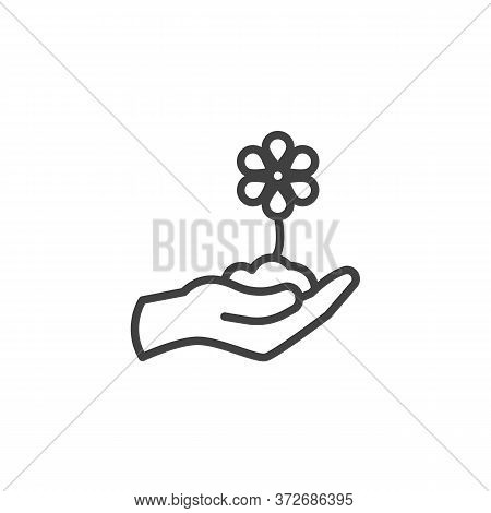 Hand With Flower Line Icon. Linear Style Sign For Mobile Concept And Web Design. Hand Grow Flower Ou