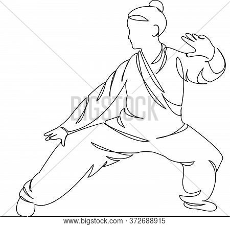 Woman Practices Qigong