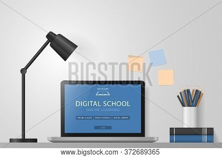 Laptop, Books, Pencils, Lamp On Desk. Online Learning Website Page On Computer Screen. Distance E-le