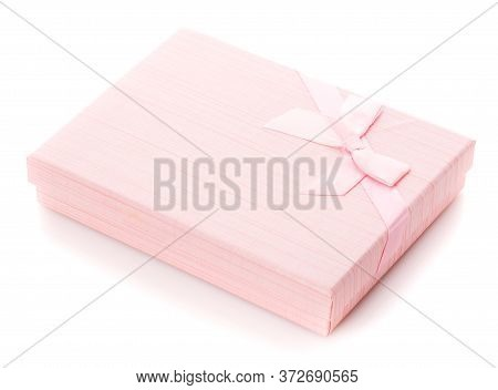 Beautiful Pink Gift Box For Jewelry On A White Background.