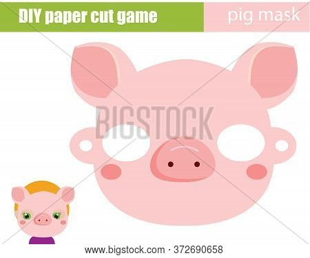 Diy Children Educational Creative Game. Make An Animal Party Mask With Scissors. Pig Paper Mask For