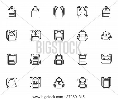 Backpack Collection Line Icons Set. Linear Style Symbols Collection, Outline Signs Pack. Backpack Ve