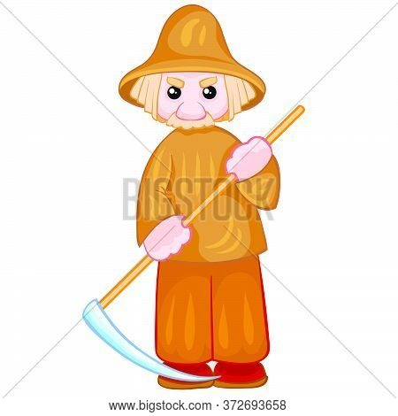 Peasant In A Gray Hat With A Scythe In His Hands, Doll, Isolated Object On A White Background, Vecto