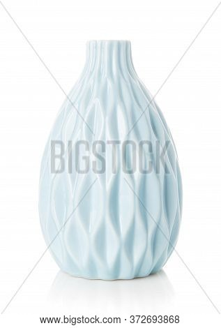 Original Vase Of Turquoise Color On A White Background.