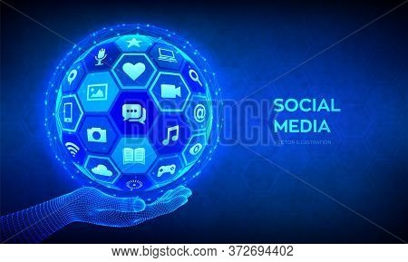 Social Media Global Connection Concept. Social Networking And Blogging. Abstract 3d Sphere Or Globe