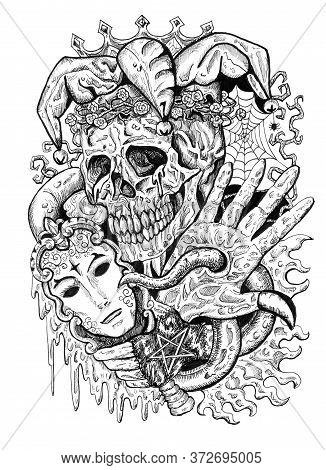 Black And White Fantasy Joker Skull With Mask And Tentacles. Esoteric, Occult And Gothic Illustratio