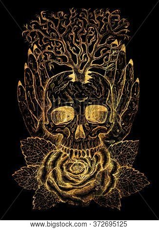 Golden Emblem With Skull, Human Hands, Tree And Rose. Esoteric, Occult And Gothic Illustration With