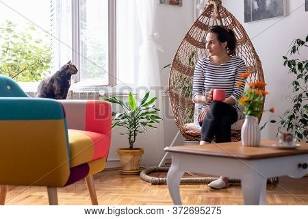 Beautiful Woman Relaxing At Home In Swing Chair. Woman With Cat At Home. Hipster Lifestyle. Beautifu