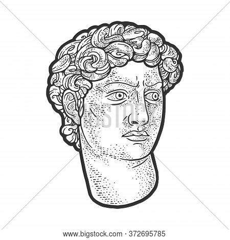 Head Of David Statue Sketch Engraving Vector Illustration. T-shirt Apparel Print Design. Scratch Boa