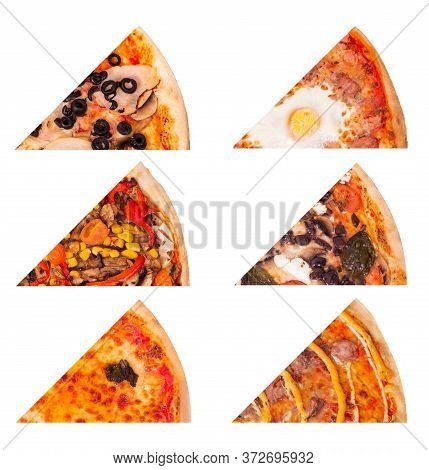 Italian Pizza Slices Set, Isolated On White Background. Tasty Pizza Like With Ham And Olives, With E