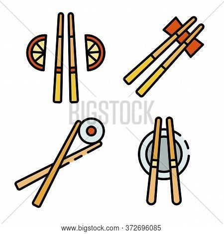 Chopsticks Icons Set. Outline Set Of Chopsticks Vector Icons Thin Line Color Flat On White