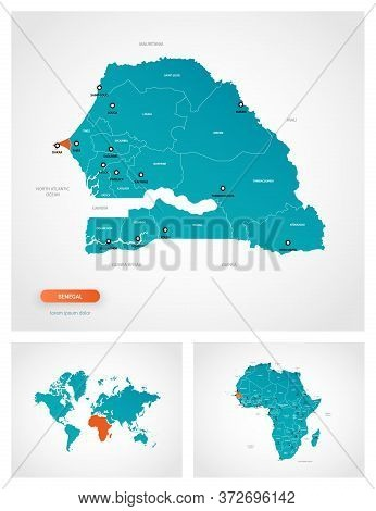 Editable Template Of Map Of Senegal With Marks. Senegal On World Map And On Africa Map.