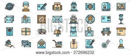 Postman Icons Set. Outline Set Of Postman Vector Icons Thin Line Color Flat On White
