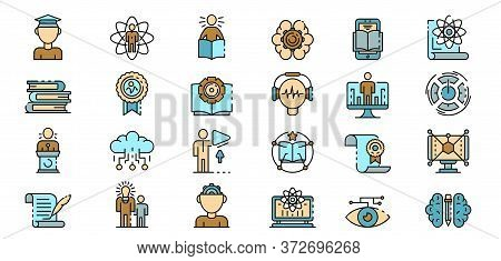 Interactive Learning Icons Set. Outline Set Of Interactive Learning Vector Icons Thin Line Color Fla