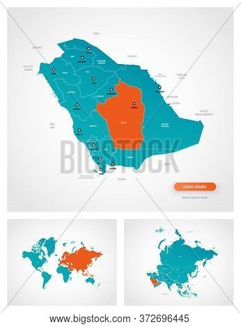 Editable Template Of Map Of Saudi Arabia With Marks. Saudi Arabia On World Map And On Asia Map.