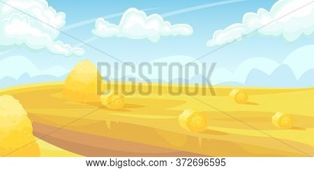 Horizontal Landscape Of A Field With Wheat, A Haystack. Harvest. Agricultural Fields. Agriculture, F