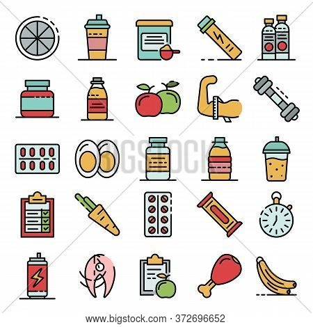 Sport Nutrition Icons Set. Outline Set Of Sport Nutrition Vector Icons Thin Line Color Flat On White