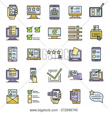 Online Vote Icons Set. Outline Set Of Online Vote Vector Icons Thin Line Color Flat On White