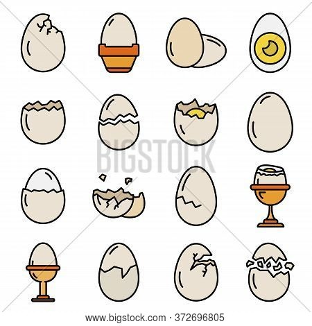 Eggshell Icons Set. Outline Set Of Eggshell Vector Icons Thin Line Color Flat On White