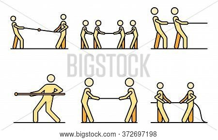 Tug Of War Icons Set. Outline Set Of Tug Of War Vector Icons Thin Line Color Flat On White