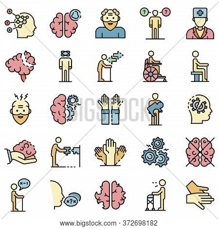 Alzheimers Disease Icons Set. Outline Set Of Alzheimers Disease Vector Icons Thin Line Color Flat On