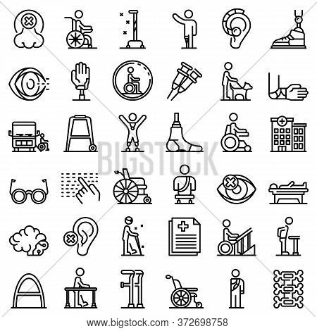 Handicapped Icons Set. Outline Set Of Handicapped Vector Icons For Web Design Isolated On White Back